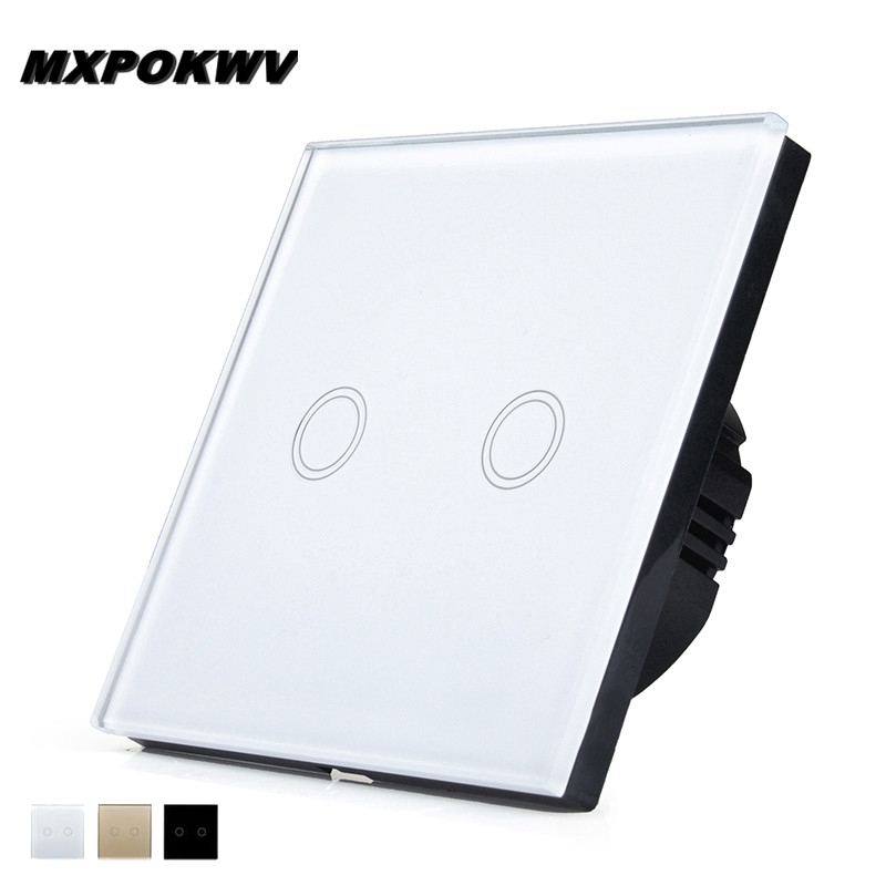 Smart Home Automation Wall Switch EU, MXPOKWV 2-gang 1-way Switch ...