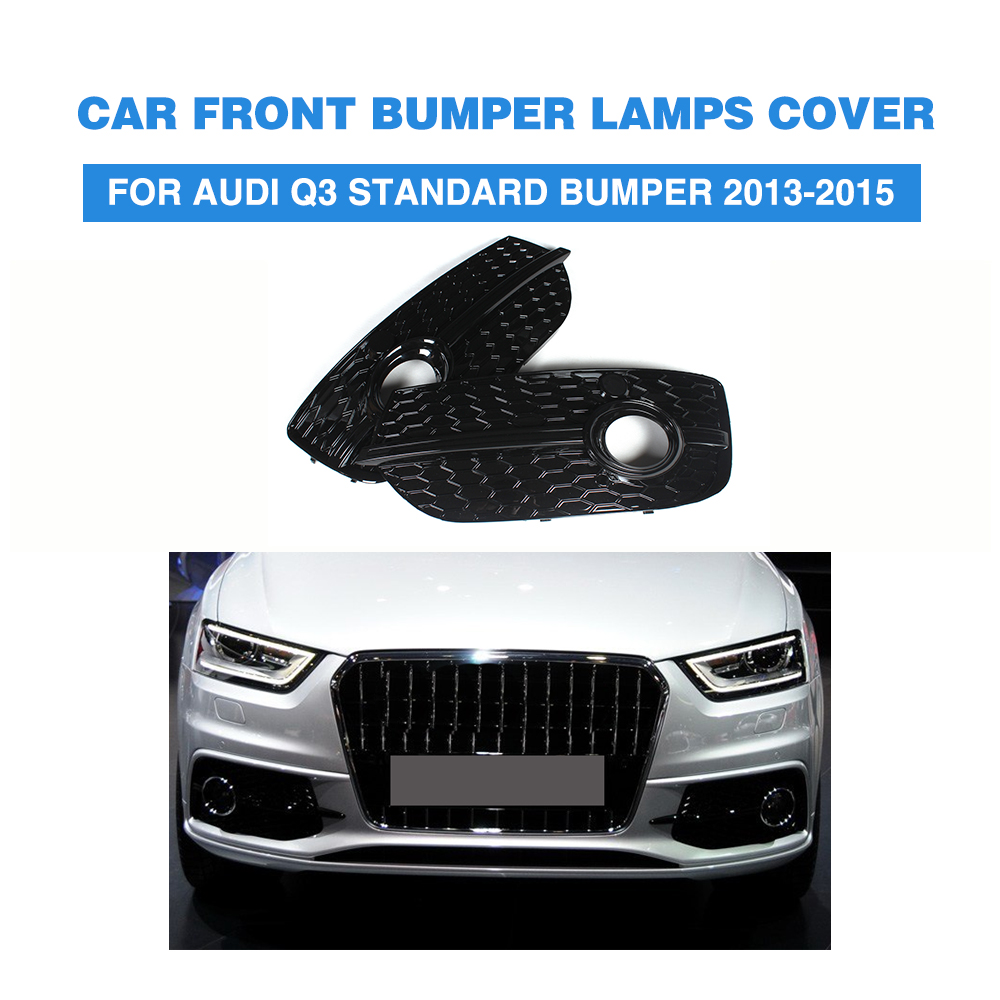 ABS Front Fog Light Covers Lamp Honeycomb Masks Trim for Audi Q3 Standard Bumper 2013 2015 2PCS/Set