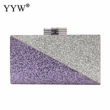 hot deal buy 2018 pvc box clutch bag ladies sequin clutches purple rectangle bag woman shoulder bags messenger durable party evening bags