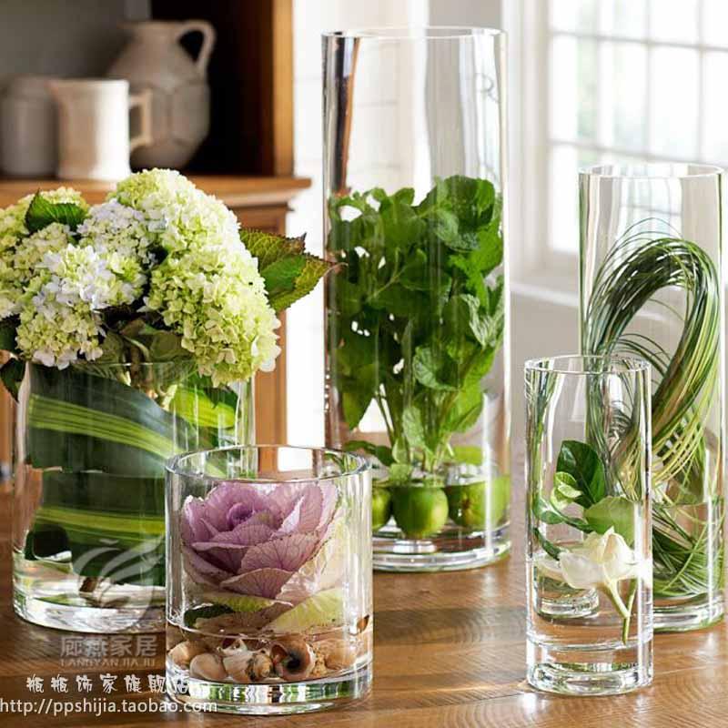 Transparent Glass Vase For Flowers Wedding Props Spur Cylinder Vase