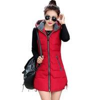 Autumn Winter Vest Women Waistcoat 2019 Female Sleeveless Jacket Hood Warm Long Vest Jacket Colete Feminino Plus Size 5XL C3727