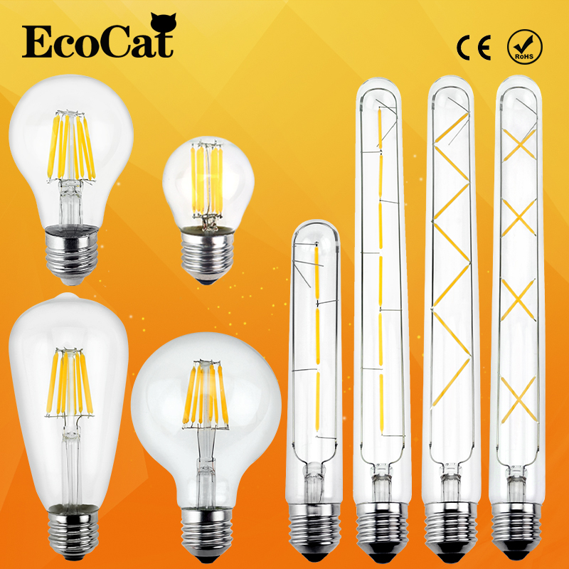 Antique Retro Vintage LED Edison bombillas E27 LED lamp 4W 6w 7w 8W E14 Filament Light 220V Glass Bulb 240v G80 T300 ST64 Lampen lightinbox good glass bulb lamp candle light lamp e27 e14 antique led edison bulb 220v retro led filament light vintage led