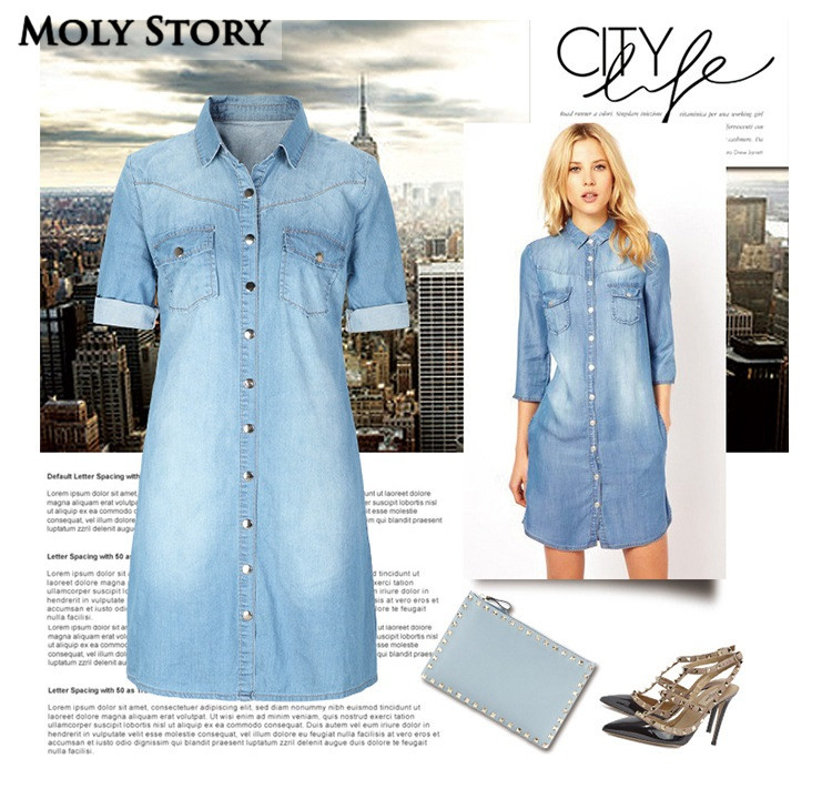 US $28.99 |Casual Denim Shirt Dress Blue Plus Size Jean Dresses Straight  Robe Femme-in Dresses from Women\'s Clothing on AliExpress