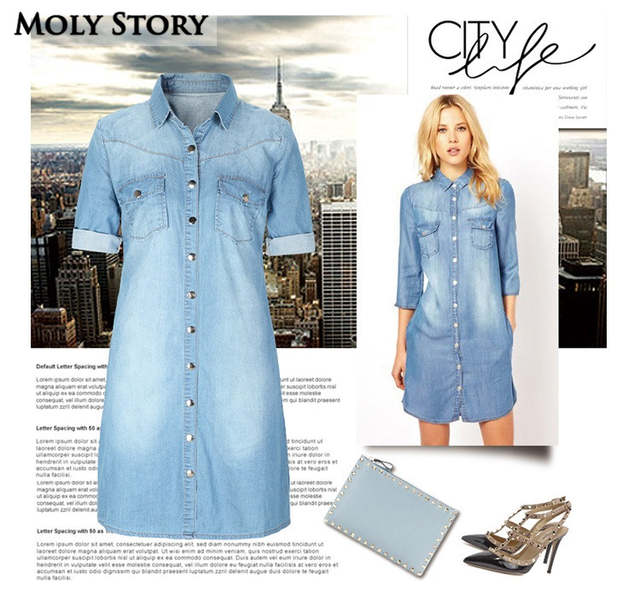 US $27.54 5% OFF Casual Denim Shirt Dress Blue Plus Size Jean Dresses  Straight Robe Femme-in Dresses from Women\'s Clothing on AliExpress