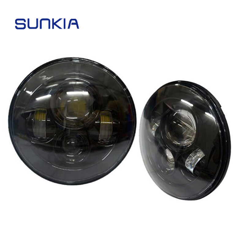 SUNKIA 2Pcs/Pair 7 Inch LED H4 High/Low Beam Headlight Kit for Jeep Wrangler Hummer Car Headlamp 7 Harley Motorcycle Headlight