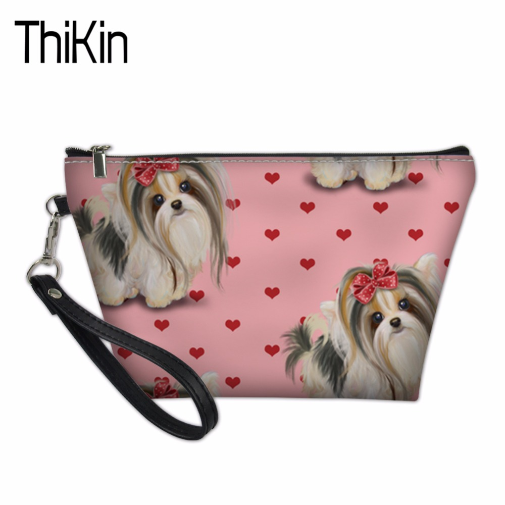 THIKIN Cute Yorkie Printed Women Neceser Portable Make Up Bag Case Organizer Bolsa Girls Casual Travel Toiletry Bag Cosmetic Bag
