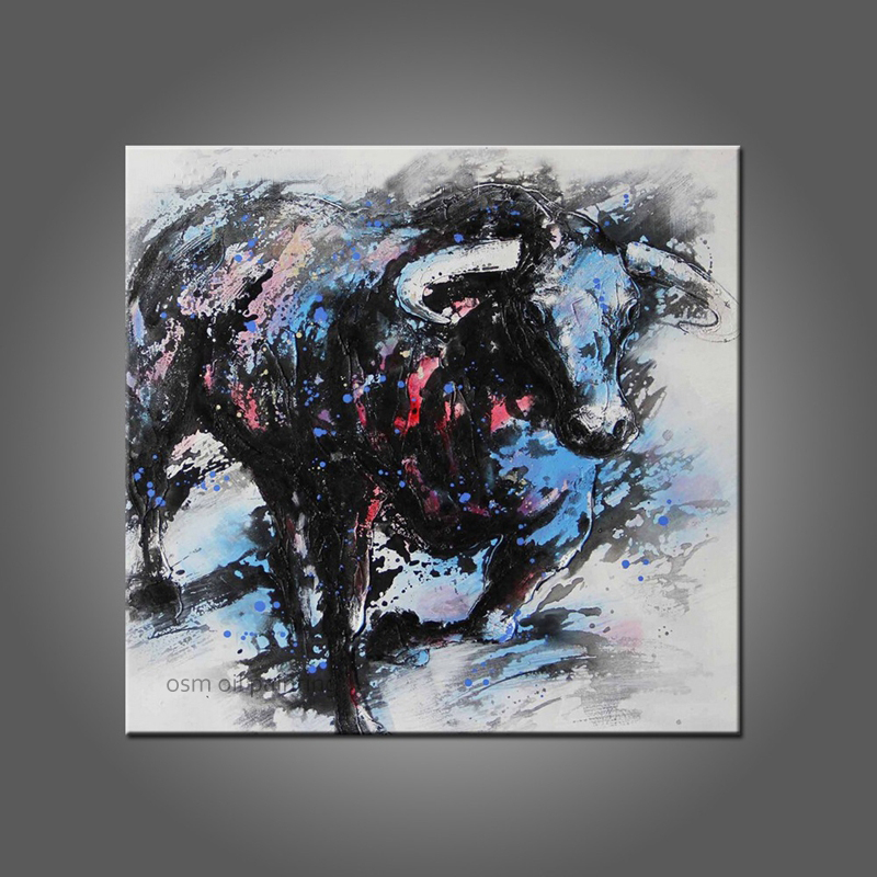 Top Skill Hand Painted The Spanish Bullfight New Designed Anima Bull Oil Painting on Canvas Wall Artwork Texture Painting in Painting Calligraphy from Home Garden