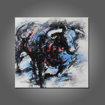 Top Skill Hand Painted The Spanish Bullfight New Designed Anima Bull Oil Painting on Canvas Wall Artwork Texture Painting