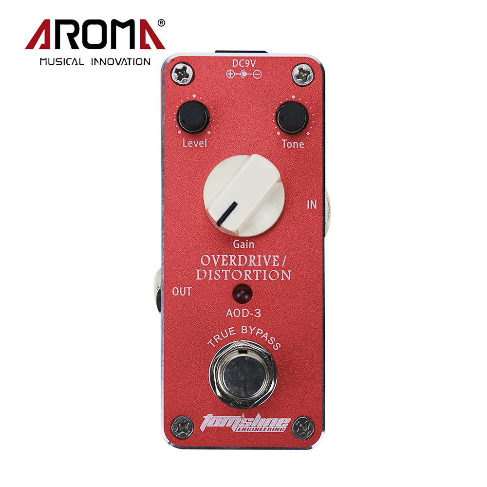 Aroma AOD-3 Mini Aluminum Alloy Overdrive Distortion Electric Guitar Effect Pedal With Sticker True Bypass aroma tom sline abr 3 mini booster electric guitar effect pedal with aluminum alloy housing true bypass durable guitar parts