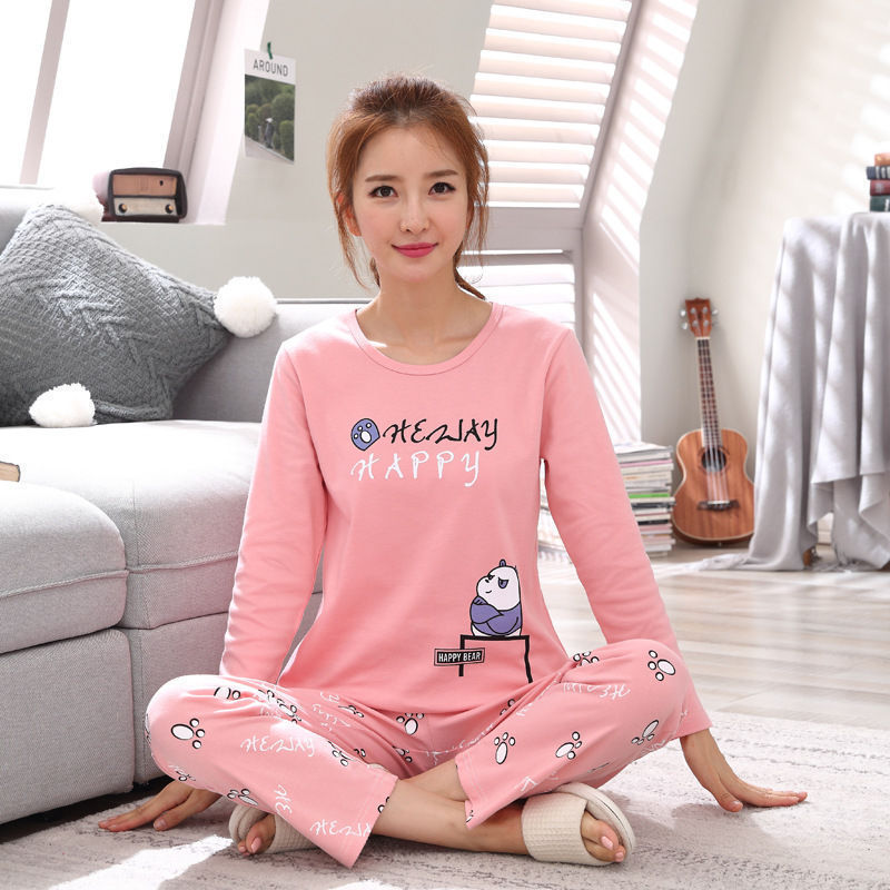 2019 Women Pajamas Sets Autumn Winter New Women Pyjamas Cotton Clothing Long Tops Set Female Pyjamas Sets NightSuit Mother Sleep 84