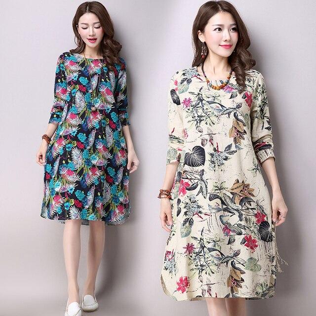 a7a67ec10126 Cotton Linen Dress Floral Print Vintage Midi Dress Long Sleeve O-neck A-line  Autumn Spring Fashion Plus Size Maternity Vestidos