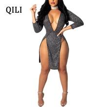 QILI Women Sexy Split Dress Deep V-Neck Long Sleeve High Silk Dresses Solid Color Party Bodycon Female