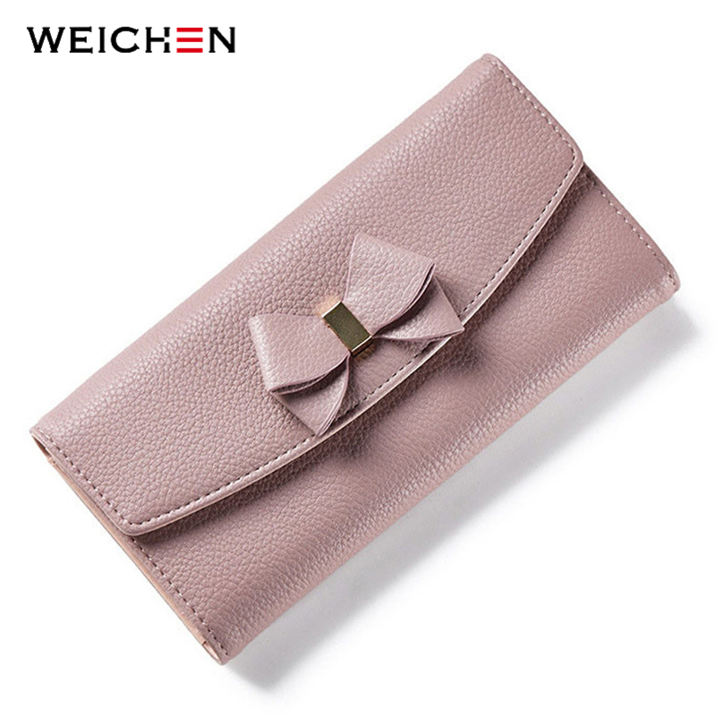 WEICHEN New Design Bow Women Long Wallet Solid Simple HASP Fashion Evening Clutch Brand Lady Purse Female Phone Card Coin Pocket weichen women elegant long wallet clutch purses female portable multifunction long solid card coin change purse bags lady