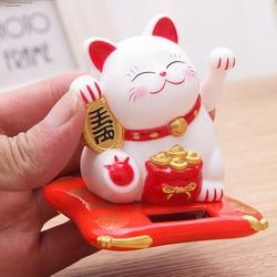 Kreatywny śliczne potrząsając rękami kot na szczęście Fortune rzemiosło figurki miniaturowe bogactwo macha kot Ornament urodziny prezent Figurki i miniatury    -