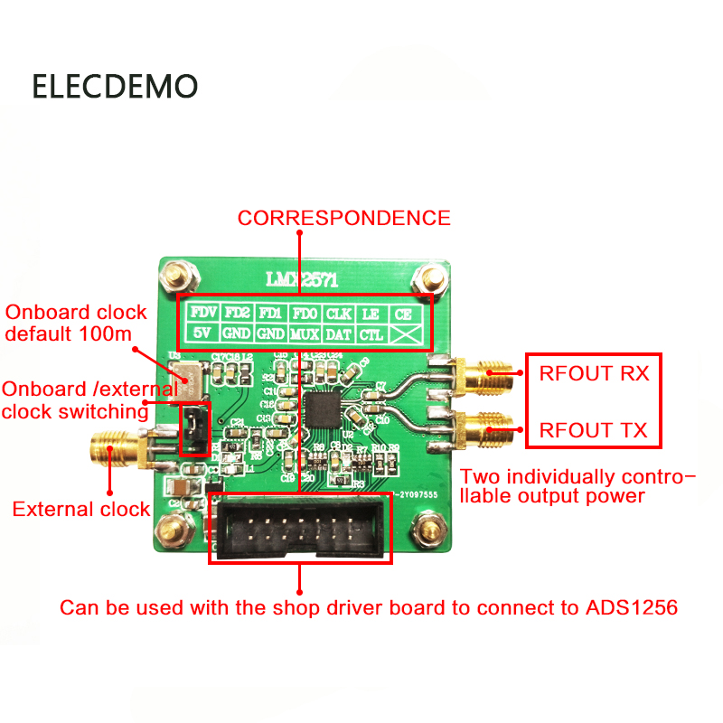 Image 2 - LMX2571 Module signal source RF source Phase locked loop module FM modulation 2018 TI electronic competition module-in Demo Board Accessories from Computer & Office