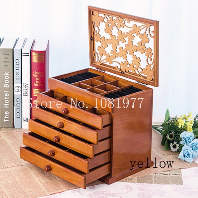 Big 6 floors Wood Jewelry Box jewelry display casket earrings ring