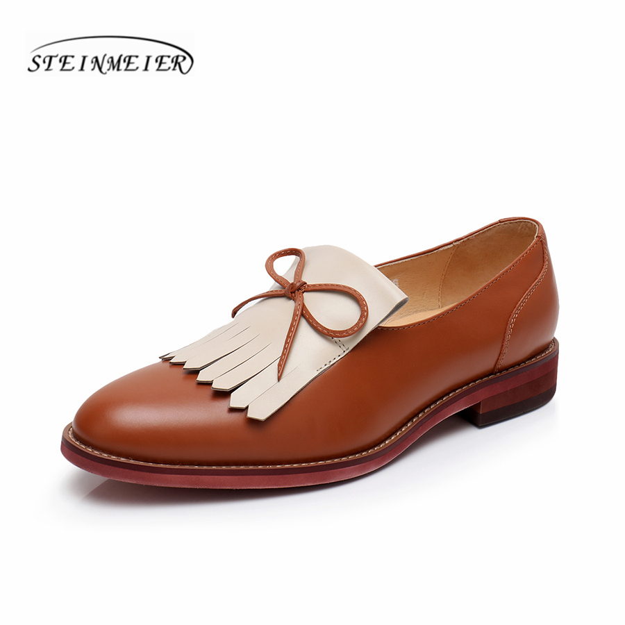 Yinzo Women Flats Oxford Shoes Woman Genuine Leather Sneakers Ladies Brogues Vintage Casual Shoes Shoes For Women Footwear 2020