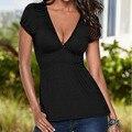 Sexy Women tops Short sleeve Deep V neck Casual t shirt women Fashion Elastic Slim Ladies blusas shirts vetement femme Y3