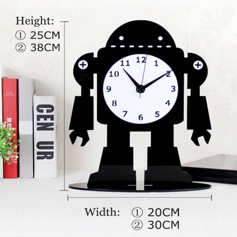 2019 acrylique grande Table numérique horloges Design moderne dessin animé Ultra calme Quartz bureau horloge noir bureau montre livraison gratuite - 4