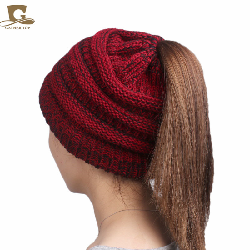 New Girls Lady winter Hat Tail Soft Stretch Cable Knit Messy High Bun Ponytail Beanie Hat Women Cap