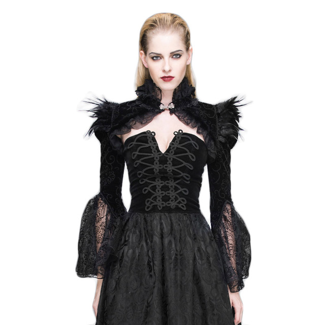 Steampunk Winter Coat Female Gothic Palace Wraps With Feathers Women Fashion Butterfly Sleeve Coats Black Overcoat