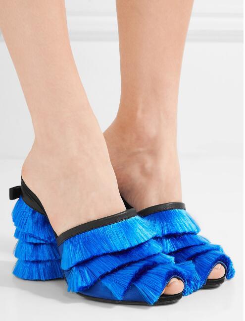 2017 Hot Women Peep Toe Slip On Fringe Sandals Fashion Blue/Pink Tassel Ladies Chunky Heel Sandals Female Sexy Dress Shoes dark blue belted peep toe fashion booties