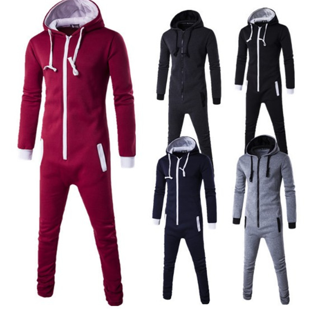YJSFG HOUSE Funny Men Jumpsuit Long Sleeve Autumn Hooded Playsuit Pocket Zip Up Rompers Male Casual Tracksuit Home Coat Pant New