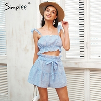 Simplee Sweet Ruffle Strap Two Piece Jumpsuit Romper Casual Elastic Waist Plaid Playsuit Women Sexy Drawstring