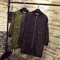 Badge Women Trench Coat Plus Size 3XL 4XL Casual Loose Zipper Long Trench Black Army Green Outerwear QYL103