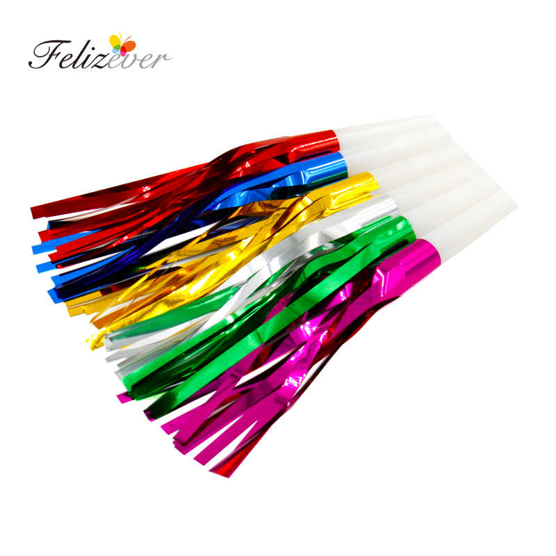"12 Piece 6"" Foil Fringe Noisemaker Blowouts Bulk Toys Birthday Party Favors Party Accessory Prizes For Kids Party Whistles"