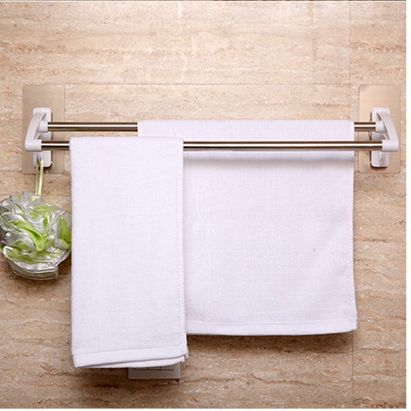 Strong Seamless Sticker Double Rod Towel Rack Stainless Steel Towel