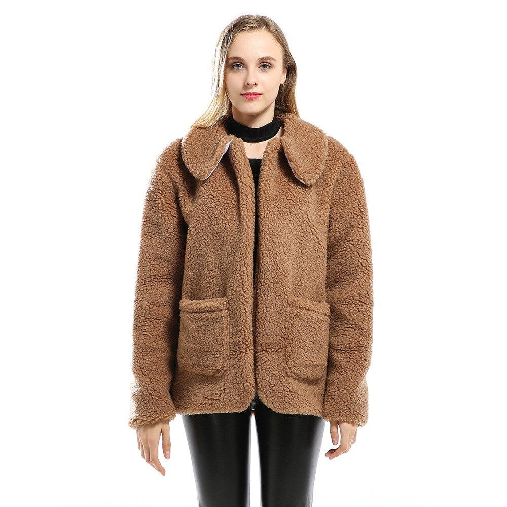 43f2eca9e665 2018 Qualité Fourrure Mode Imitation Haut Épais Chaud De Cardigan Automne  Très Bonne Brown Femelle Femmes Hiver Manteau ...