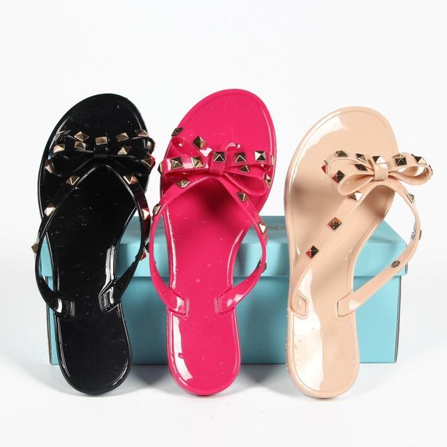 4bb51c052 New Summer Women Flip Flops Slippers Flat Sandals Bow Rivet Fashion Pvc  Crystal Beach Jelly Shoes