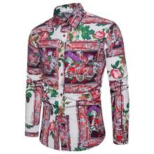 Fashion Shirt Men Flower Long-sleeved Mens clothing Plus size Linen Blouse Hawaiian Style Floral New