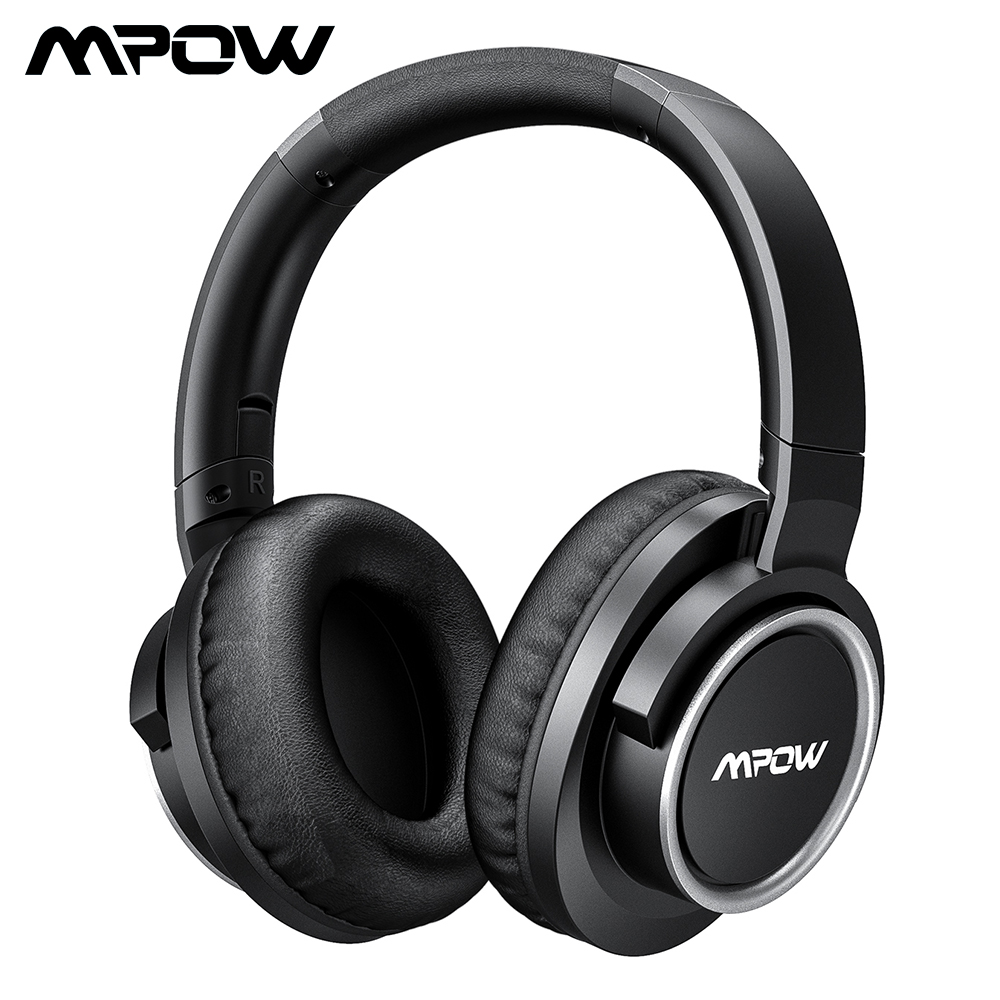 Mpow H3 Bluetooth 4.0 Earohone Wireless Noise Canceling Earphones With Mic And 24 Hours Playing Time Wired Wireless Mode For PC origial mpow h5 2nd generation anc wireless bluetooth headphone wired wireless with mic carrying bag for pc iphone huawei xiaomi
