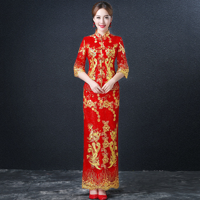 Red Traditional Chinese Wedding Gown Bride Cheongsam Modern Chinese ...