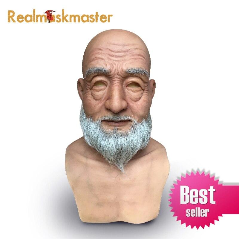 Realmaskmaster réaliste halloween silicone vieil homme masque Mâle Déguisement latex adulte plein visage masques de partie Cosplay Accessoires