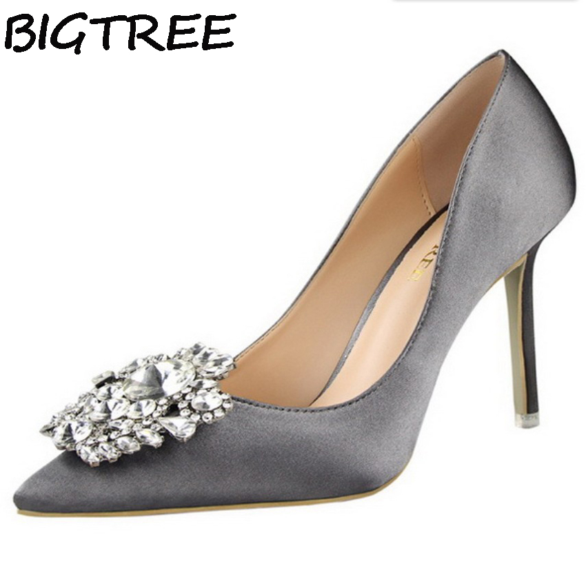 BIGTREE Silver Gray Black Women Bridal Wedding Shoes Faux Silk Satin Rhinestone Crystal Shallow Woman Pumps Stiletto High Heel игрушка ecx ruckus gray blue ecx00013t1