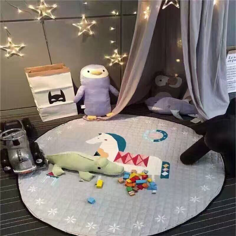Kids Play Mats Toys Storage Bag Round Carpet Rugs Large 150cm Canvas rawling Mat Carpet Portable Canvas kids Toys Sundries Pouch