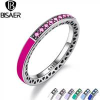 BISAER 925 Sterling Silver Radiant Hearts Radiant Orchid Enamel Cerise Crystals Ring For Women Engagement Jewelry