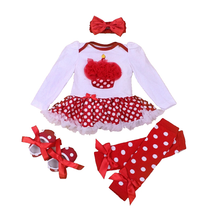 Spring 2018 Cake Applique First Birthday Outfit 4PCS Baby Girl Romper Set Tutu Ropa De Bebe Infant Clothes Toddler Girl Clothing cupcake birthday outfits leopard baby romper dress headband shoes infant lace tutu set roupa bebe menina winter girl clothes