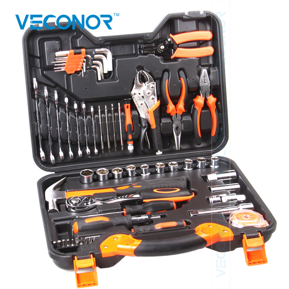 Veconor 55pcs Hand Tool Set Hex Wrench Set Sockets Plier Torque Wrench Tape Socket Bits Hammer Screwdriver Bits Small Wrenches set within the hexagonal wrenches sets hex wrench nine sets of extended specialty matt ball