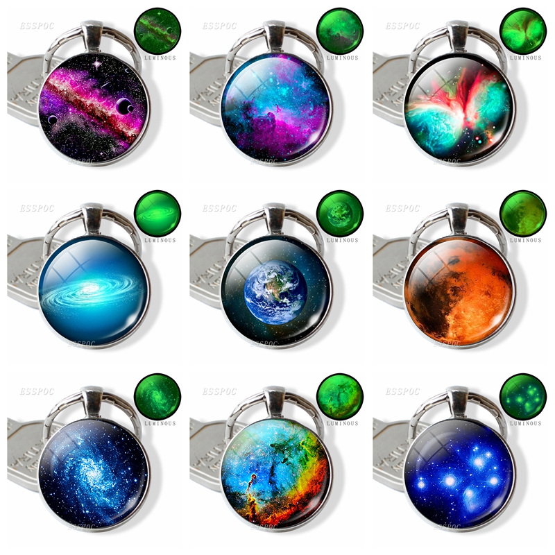 Luminous Galaxy Keychain Galaxy Glass Cabochon Pendant Metal Key Chain Glow In The Dark Handmade Nebula Jewelry Gift For Lovers
