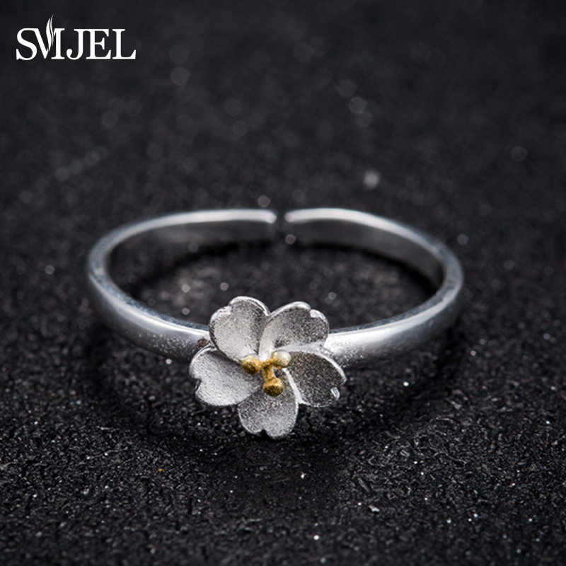 SMJEL New Valentines Day Tiny Beautiful Daisy Flower Open Rings for Women Cherry Blossom Femme Bijoux Birthday Gifts SYJZ024