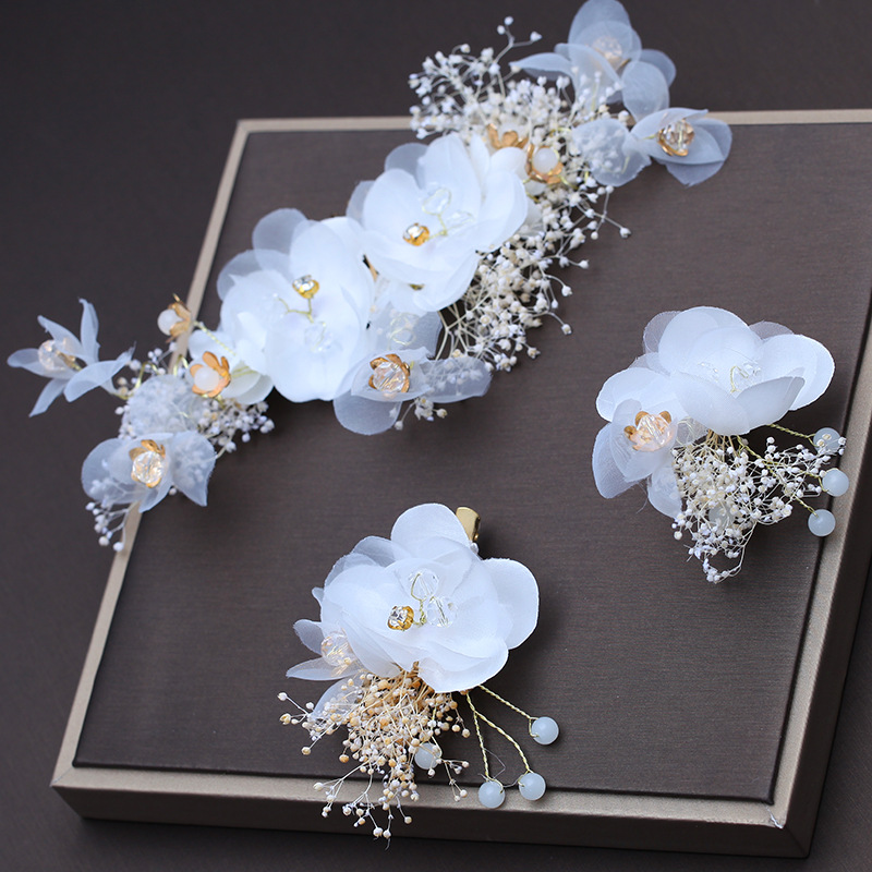 Barrettes-Sets Hair-Accessories Dry-Flower Brides Wedding Headdress White Women