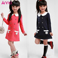 2015 Girls dress College spring girls dresses children long-sleeved dress lapel double-breasted pocket dress free shipping