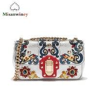 Известный дизайнер Diamond Перл Золотой Металлические сумка женский клатч Siciiy Винтаж Этническая Стиль сумочка из натуральной кожи сумка