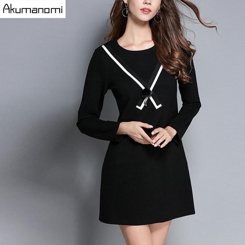 Automne Femmes La Xl Pleine 4xl Ornementales 3xl 2xl Manches Robe Noir O Vêtements Plus Printemps Taille 5xl cou Venonat Hiver Bureau L M kOPZiXuT