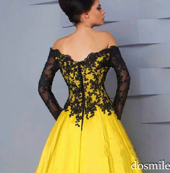 5fa36a075c Hot Sale black lace yellow boat neck long sleeve appliques ball gown  evening dresses long prom gowns plus size evening dress-in Evening Dresses  from ...