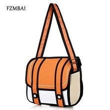 Fzmbai Новая мода 2D Сумки Новинка обратно в школу мешок 3D Рисунок мультфильм Бумага комиксов сумки Для женщин сумка 5 цветов подарок